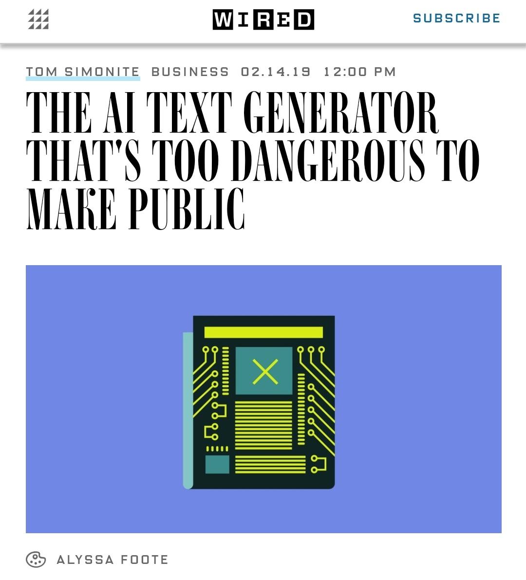 THE AI TEXT GENERATOR THAT'S TOO DANGEROUS TO MAKE PUBLICv - FIAKS