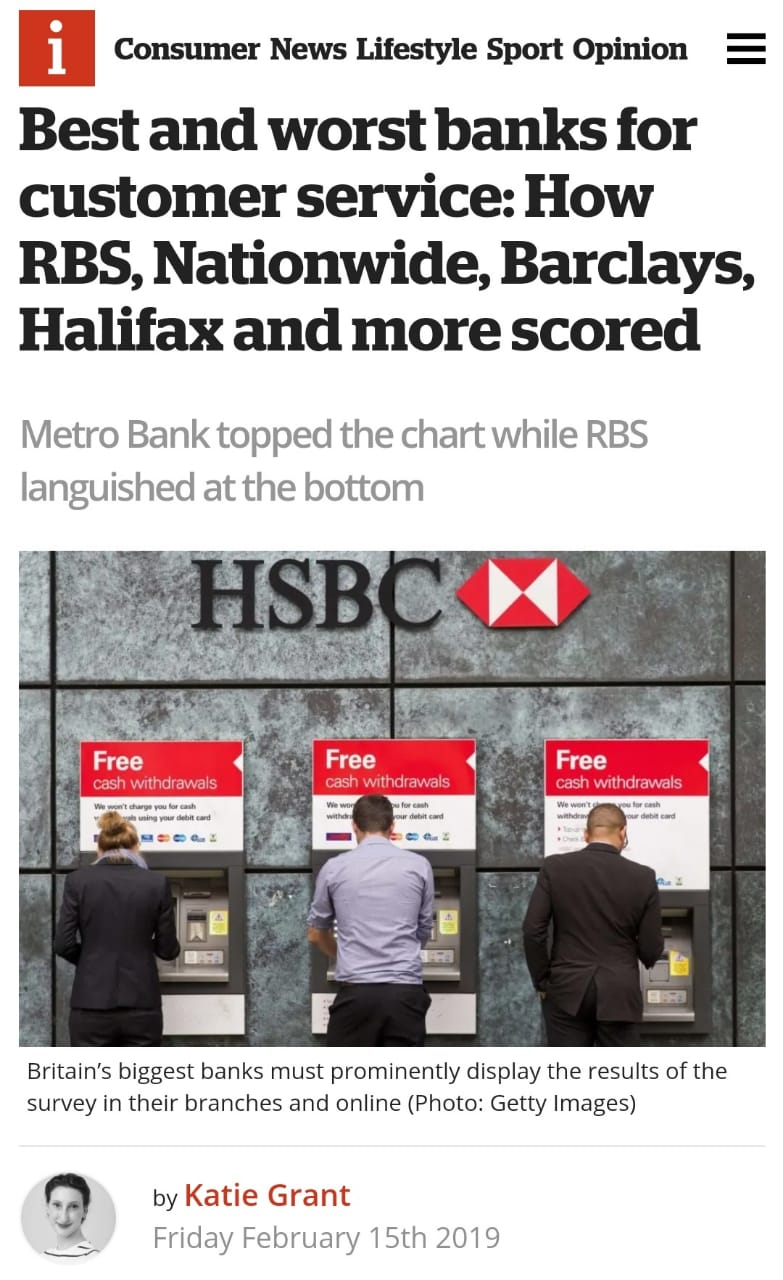 Nationwide Customer Service >> Best And Worst Banks For Customer Service How Rbs Nationwide
