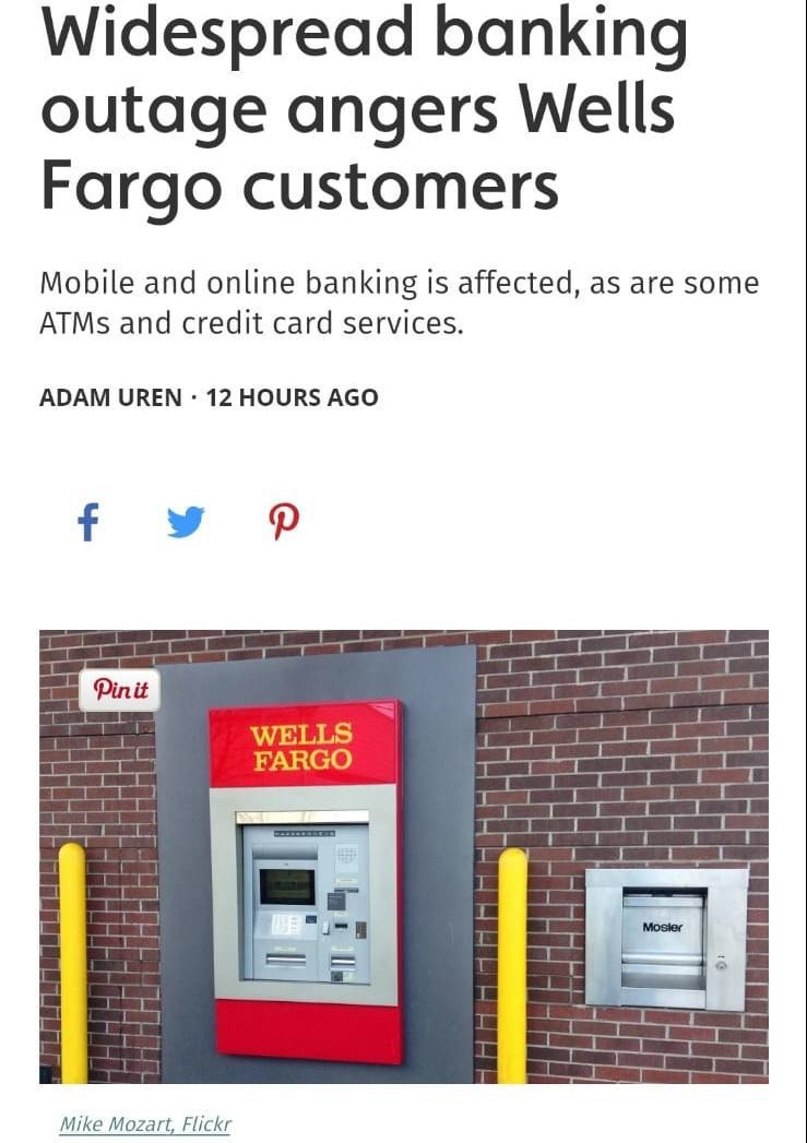 Widespread banking outage angers Wells Fargo customers - FIAKS