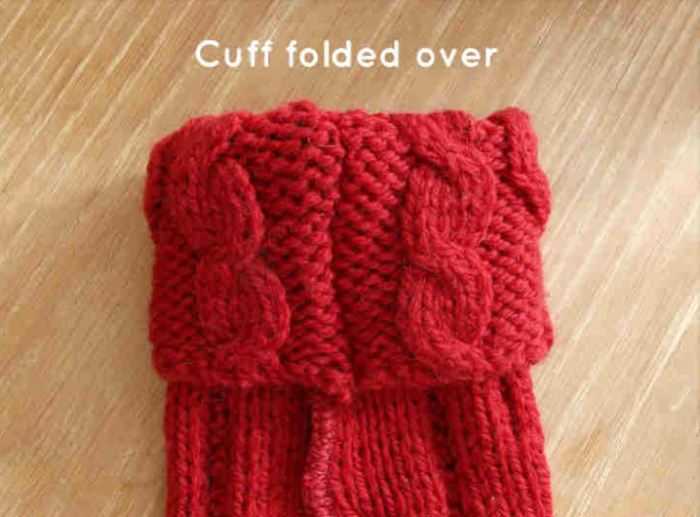 Sweater boot cuff folded over