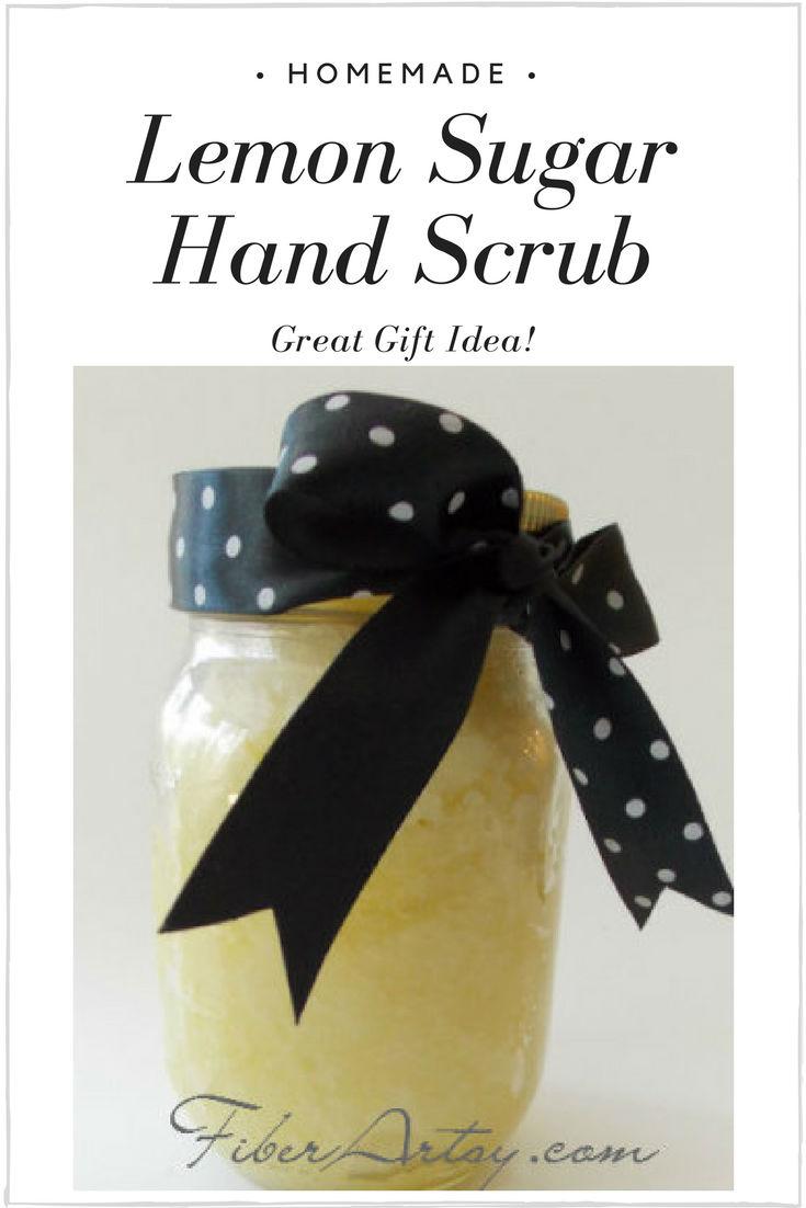 Easy step by step tutorial for making your own Lemon Sugar Hand Scrub. Great Gift Idea for Christmas or Birthdays. A FiberArtsy Tutorial