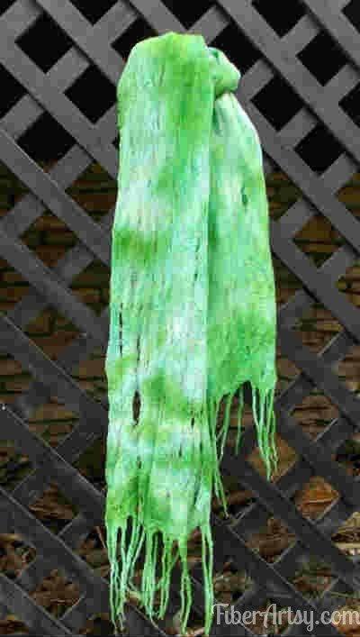Finished Cobweb Felted Scarf. How to Felt Wool