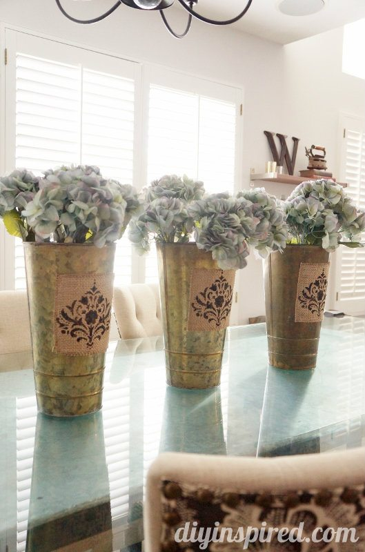 Table Centerpieces  with stenciled burlap fabric