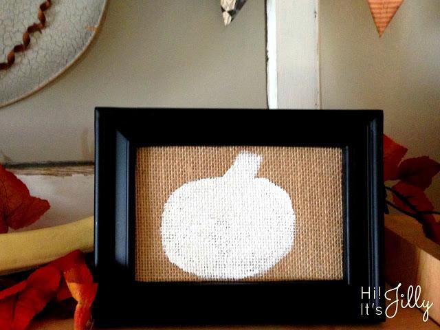 Framed Burlap Fall Pumpkin