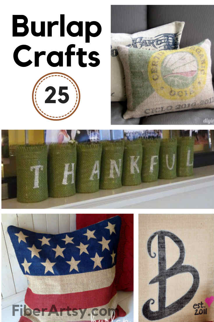 25 Fall Crafts with Burlap Fabric. Burlap Crafts and Decor perfect for Fall and Thanksgiving. Wreaths, Pumpkins, Placemats and even a Pillow made of Burlap.