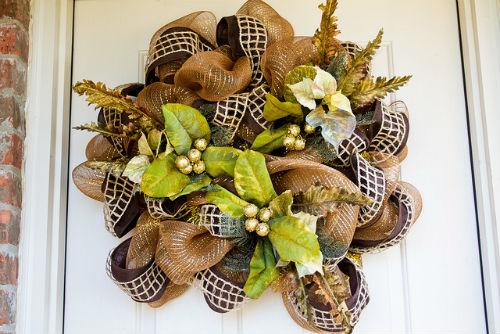 Burlap Mesh Door Wreath for Fall
