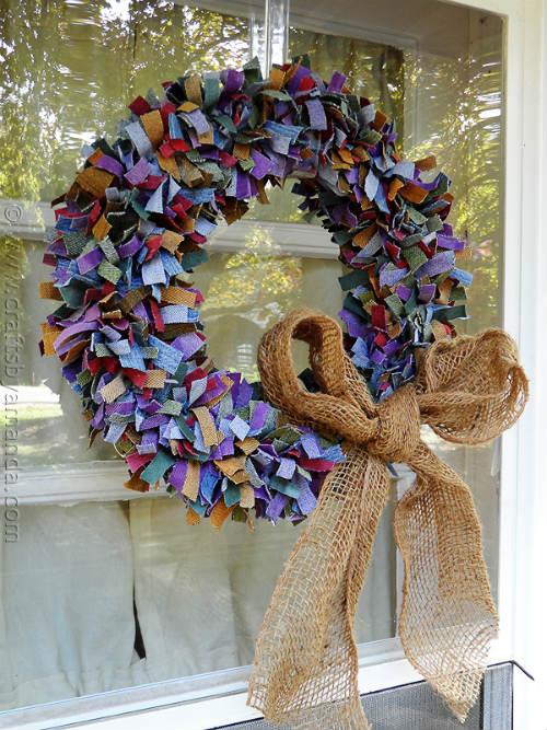 Door Wreath made with Denim Scraps and Burlap Ribbon