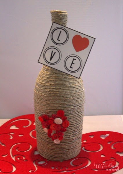 Raffia Wrapped Bottle for Valentine's Day Gift Idea