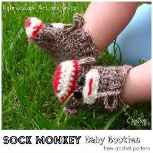 Sock Monkey Baby Booties Crochet Pattern
