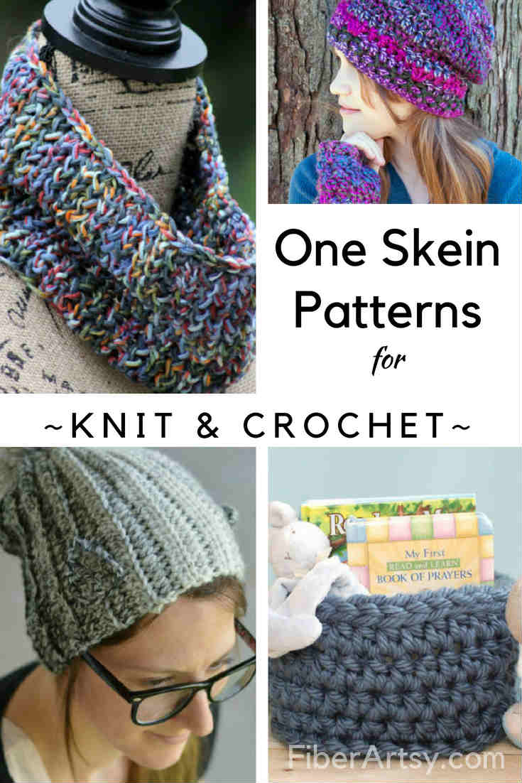 15 One Skein Patterns for Knitting or Crochet. A fun roundup of Knitting and Crochet patterns that use only one skein of yarn. Quick and easy patterns for hats, gloves, scarves and a basket