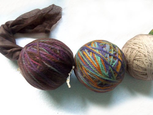 wool yarn rolled into a ball for wet felting into wool dryer
