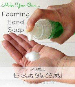 DIY foaming hand soap recipe, Fiberartsy.com
