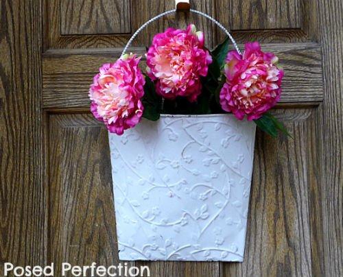 DIY Spring Wreath made with Peony flowers, Fiberartsy.com