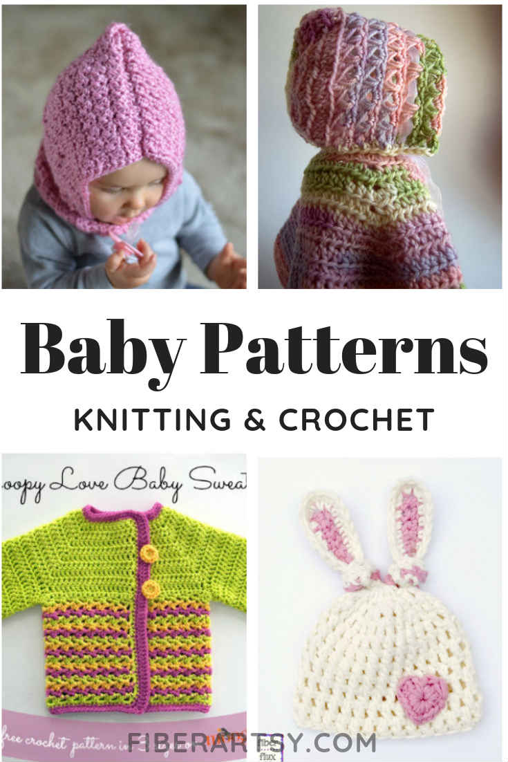 Fun, Free Crochet Patterns for Baby (and some knitting patterns for baby, too). Hat patterns, headbands and bows, baby blankets and more. FiberArtsy.com