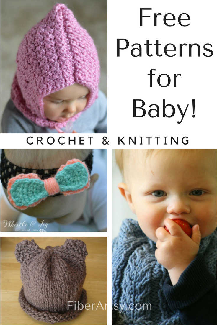 Free Patterns for Baby for Crochet and Knitting. Baby Hat Patterns, Headbands, Bows and Baby Blanket Patterns
