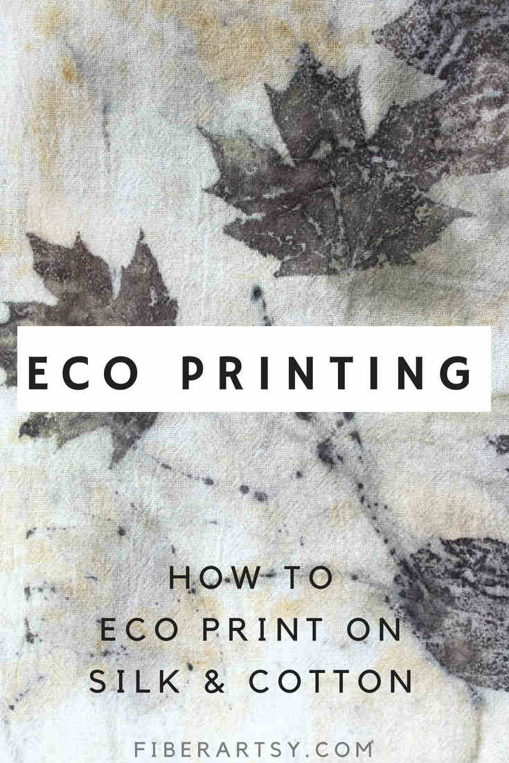 Eco Printing on Fabric. Learn basic Eco Printing Techniques with black walnut and maple leaves printed on silk chiffon and cotton with an iron modifier.
