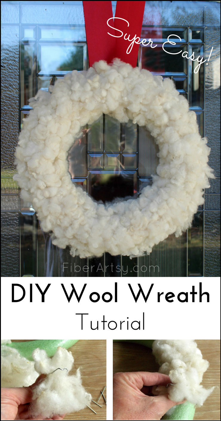 How to make your own Christmas Wreath using sheep wool, pins and a foam wreath base