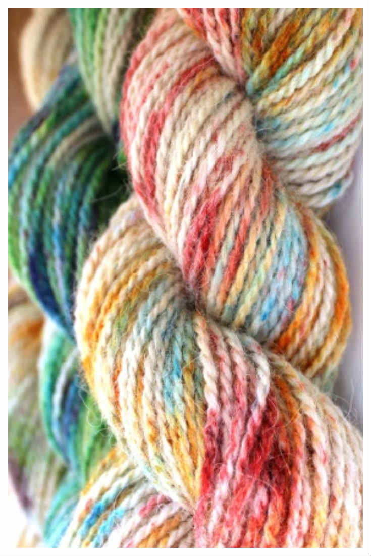 Speckle Dyed Alpaca Yarn. This yarn was dyed with Kool Aid food coloring using the sprinkle dyeing method