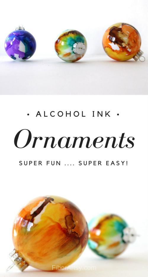 Learn how to make beautiful Alcohol Ink Ornaments with this easy step by step craft tutorial. A super fun and super easy glass painting technique. A free FiberArtsy.com tutorial