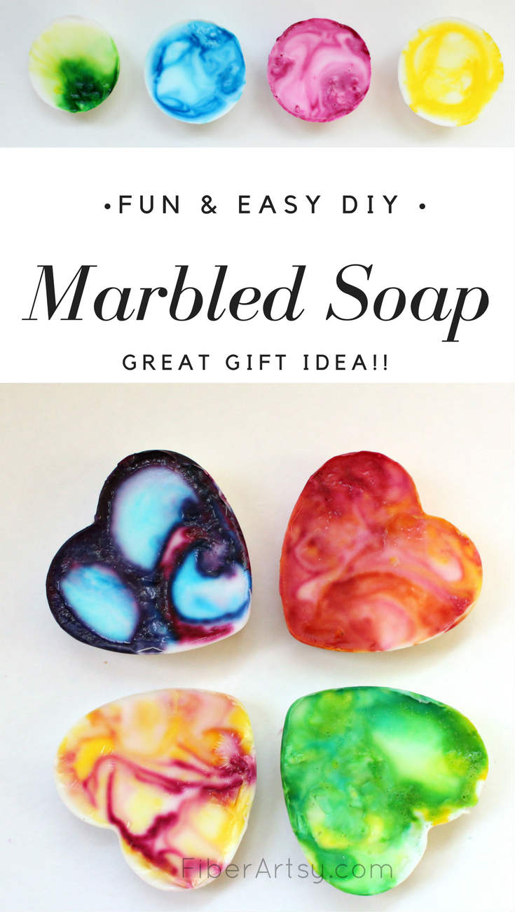 Fun and easy way to make some pretty (and pretty smelling) marbled goat milk soap. A great DIY Gift Idea for Christmas, Birthdays or Valentines Day. a FiberArtsy.com tutorial