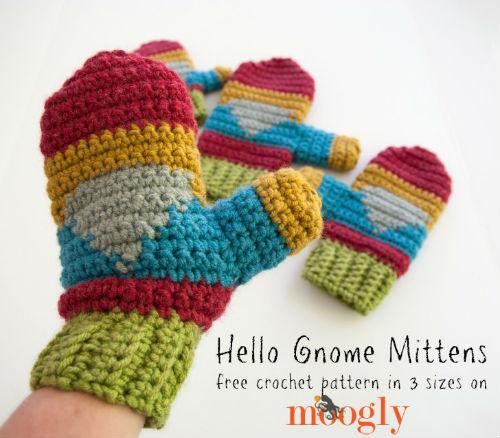 Hello Gnome Free Crochet Mitten Pattern by Moogly