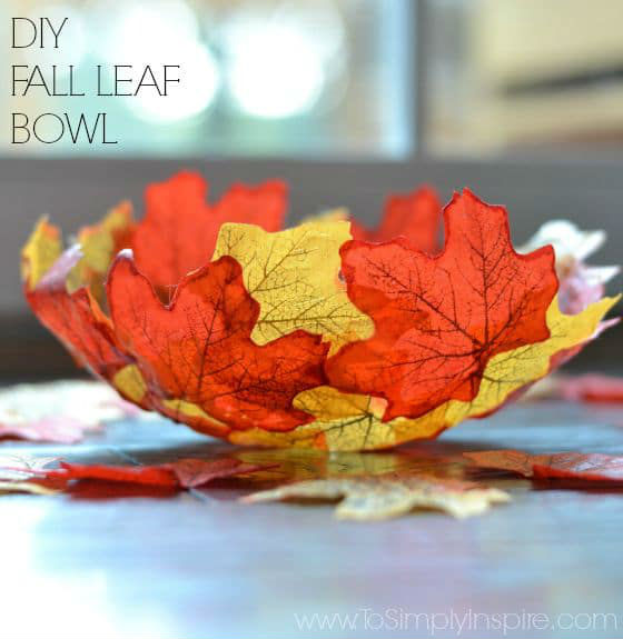 DIY Fall Leaf Bowl. Great Thanksgiving Table Decor Idea