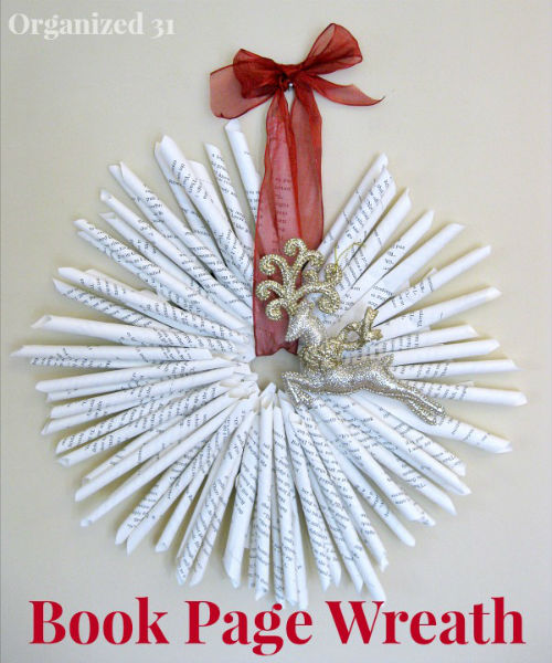 Wreath made with paper Book Pages