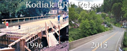 Kodiak Fiberglass Rebar, Reinforced the first Bridge in U.S. History (Mckinleyville Bridge, West Virginia 1996) Kodiak FRP Rebar was used in place of steel rebar