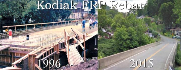 Kodiak Fiberglass Rebar, Used for the First FRP Reinforced Bridge in U.S. History (Mckinleyville Bridge over Buffalo Creek, West Virginia 1996)