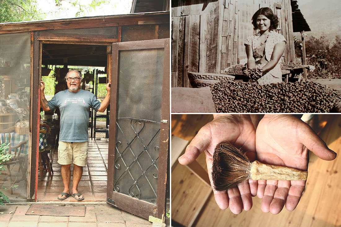 Brother in the entrance to the ranch mudroom; Brother's mother with the acorn harvest, soap root brush used for cleaning
