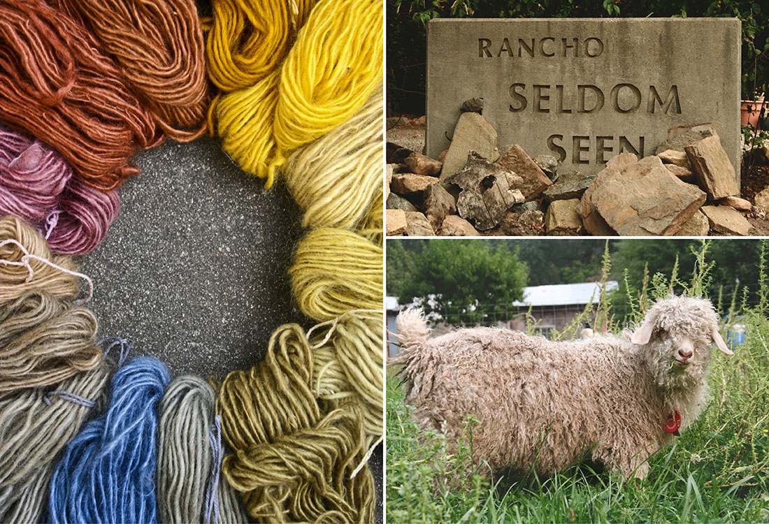 Some of Kim's naturally dyed hand spun yarn, the sign for the Kim and Brother's ranch, one of their angora goats