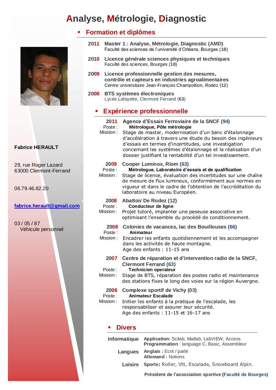 Modle De CV Par Cv Enregistr
