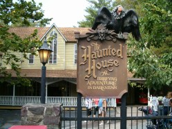 The Haunted House ride at Knobles Grove Amusement Park. [Favorite detail: Can't decide between the Truck Horn that blasts you out of your seat at the end of the long, dark, silent tunnel... or the three strands of horse hair dangling from the pitch black ceiling as you ascend the final riser, the end literally in sight].