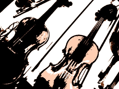 Fiddles and bows in black and white