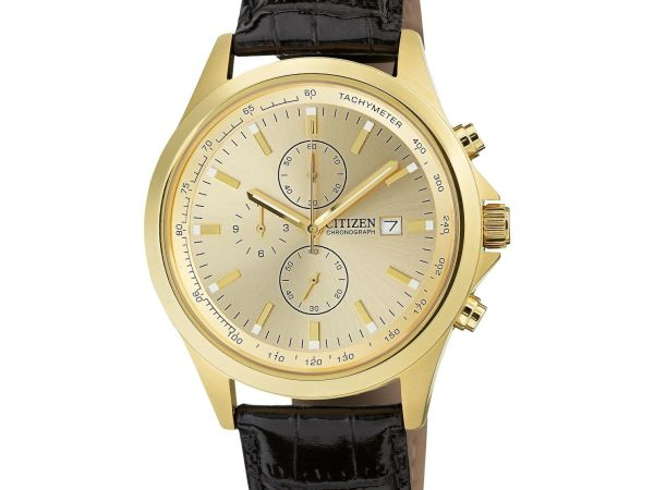 Citizen Men's Black Leather Strap Watch AN3512-03P