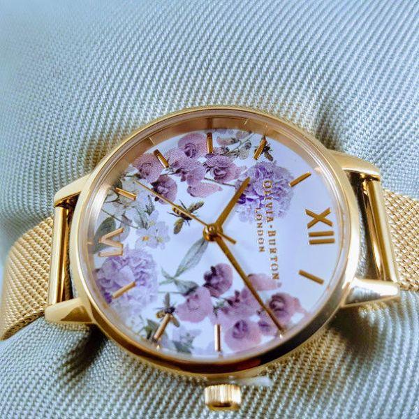 Olivia burton Midi Enchanted Garden Bee Blooms Rose Gold Mesh Watch OB16EX90