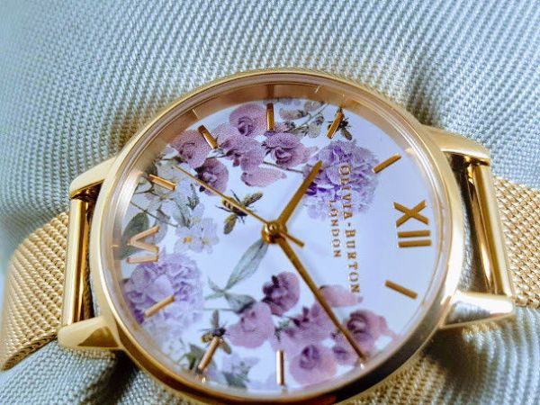 Olivia burton Midi Enchanted Garden Bee Blooms Rose Gold Mesh Watch OB16EX90
