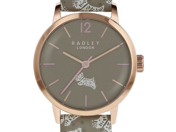 Radley Rose Gold Stainless Steel Watch with Woodland Print Leather Strap RY2572