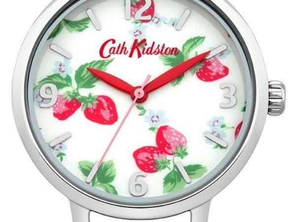 Ladies Cath Kidston Strawberries Light Blue Leather Strap Watch CKL006WUS