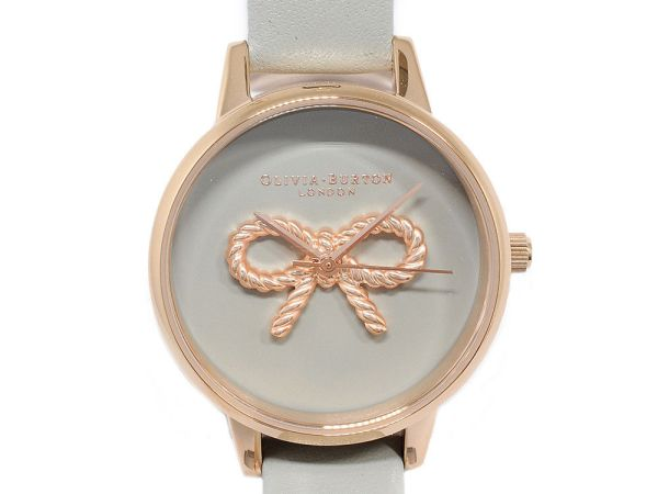OLIVIA BURTON 3D Vintage Bow In Grey Rose Gold