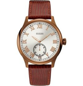 Guess Cambridge Mens Dress Analogue Brown Round W1075G3