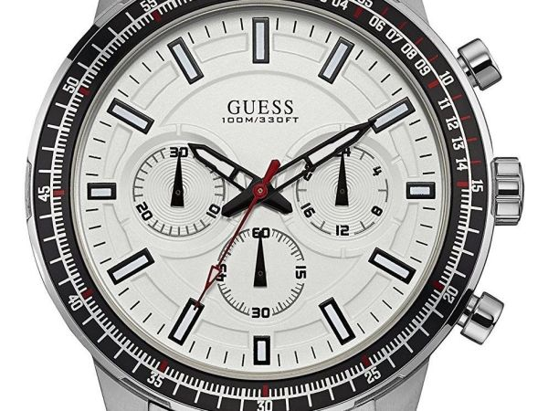 Guess Mens Quartz Watch, Chronograph Display and Stainless Steel Strap W0801G1