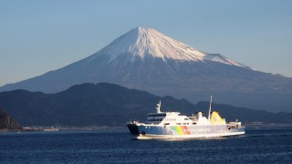 Look Over Beautiful Mt.Fuji On Ocean; Suruga Bay Ferry