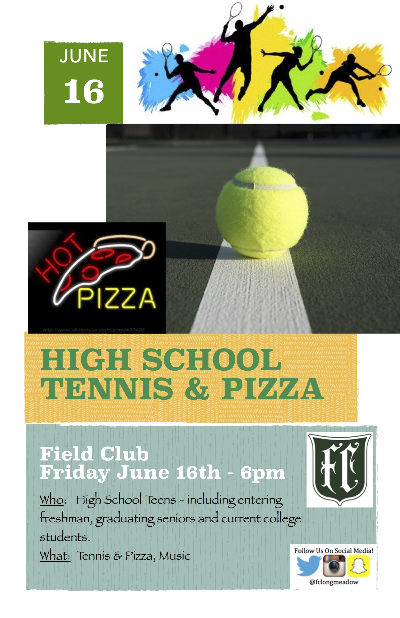 High School Pizza Amp Tennis Event