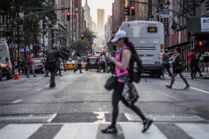 pedestrian wakling in crosswalk