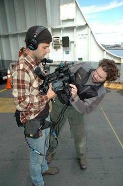 Martin und Nick zwischen den Dreharbeiten für SoundTracker (Foto: Kari Wilton)