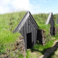 Turf houses, the traditional green buildings of Iceland