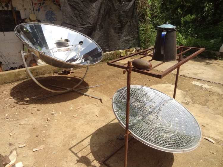 Solar cookers at Bosque Shambala