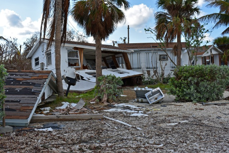 Houses in Big Pine Key damaged by Hurricane Irma