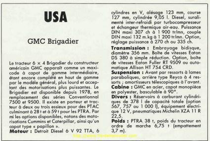 fiches descriptives de « camions magazine» de 1984